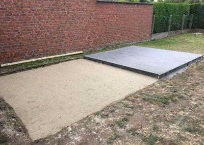 Plaatsing tuinhuis - betonplaat - West-Vlaanderen - Bijgebouw in hout - Pype houthandel - Menen